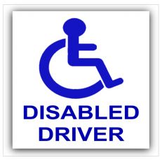1 x Disabled Driver Sticker-Disability Car Sign-Mobility,Wheelchair,Driver,Car,Van,Truck,Vehicle-Self Adhesive